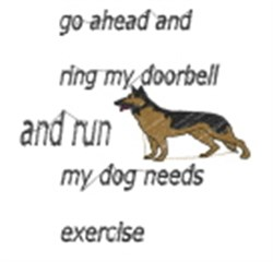 Dog Needs Exercise embroidery design