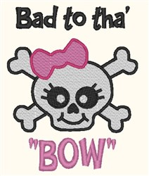 Cute Girly Skull embroidery design