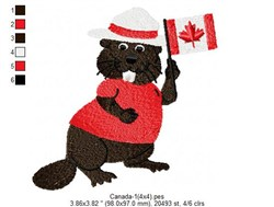Beaver With Canadian Flag embroidery design