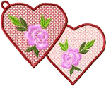 Flowers and Hearts embroidery design