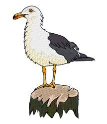 Folly Beach Gull embroidery design
