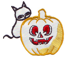 Cat with Pumpkin embroidery design