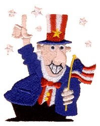 Patriot with Flag embroidery design