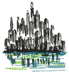 Cityscape embroidery design