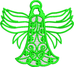 FSL Green Angel Ornament embroidery design
