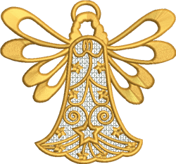 FSL Golden Angel Ornament embroidery design