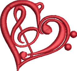 FSL Music Heart embroidery design