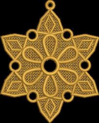 FSL Golden Poinsettia Ornament embroidery design