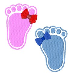 Bow Footprints embroidery design