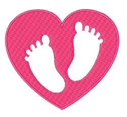 Footprint Heart embroidery design