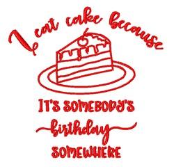 I Eat Cake embroidery design