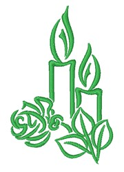 Candle & Rose embroidery design