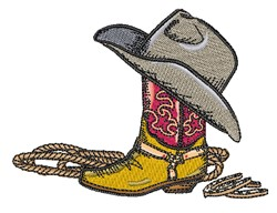 Cowboy Boot & Hat embroidery design