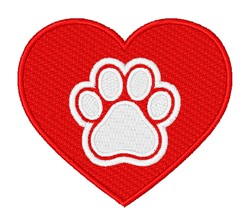Pawprint Heart embroidery design