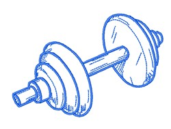 Barbell Outline embroidery design
