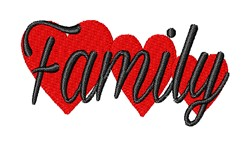 Family Hearts embroidery design
