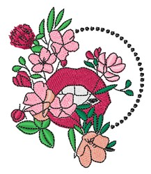 Lips & Flowers embroidery design