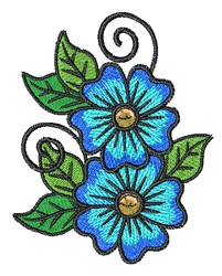 Blue Flowers embroidery design