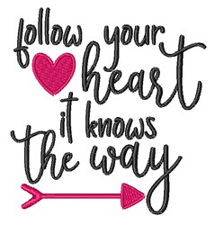 Follow Your Heart embroidery design