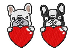 Frenchie Hearts embroidery design