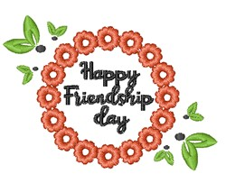 Happy Friendship Day embroidery design