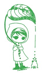 Girl & Frog embroidery design