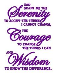 Serenity Courage Wisdom embroidery design