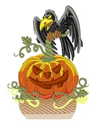 Crow & Pumpkin embroidery design