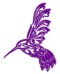 Decorative Hummingbird Outline embroidery design