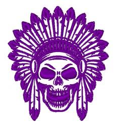 Skull & Headdress Outline embroidery design