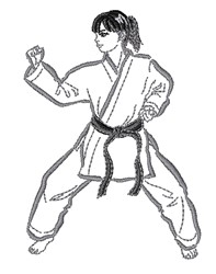 Girl Karate Outline embroidery design