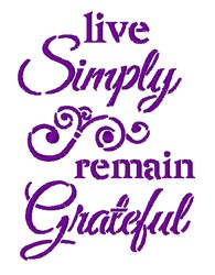 Live Simply Remain Grateful embroidery design