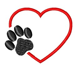 Paw Print & Heart embroidery design