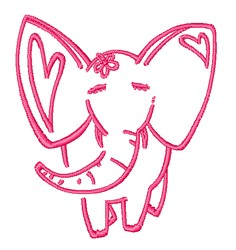 Pink Elephant Outline embroidery design