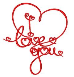 Swirly I Love You embroidery design