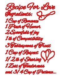 Recipe For Love embroidery design