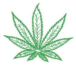 Marijuana Leaf Outline embroidery design