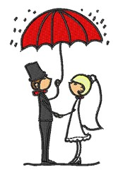 Cartoon Bride & Groom embroidery design