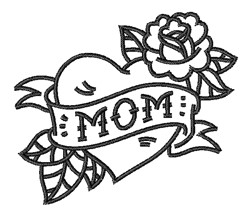 Love Mom Tattoo Outline embroidery design