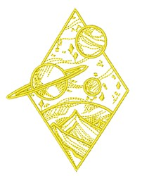 Outer Space Scene Outline embroidery design