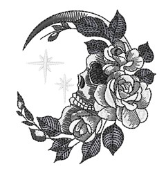 Crescent Moon & Skull embroidery design