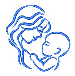 Mother & Child Outlne embroidery design