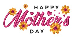 Floral Happy Mothers Day embroidery design
