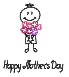 Happy Mothers Day Outline embroidery design