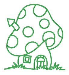 Mushroom House Outline embroidery design