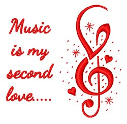 Music Is My Second Love embroidery design