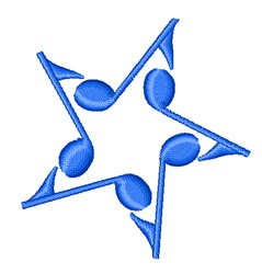 Musical Notes Star embroidery design