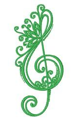Decorative G Clef embroidery design