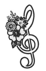 Floral G Clef Outline embroidery design