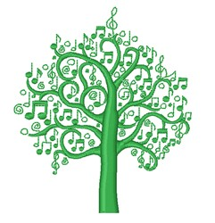 Decorative Musical Tree embroidery design
